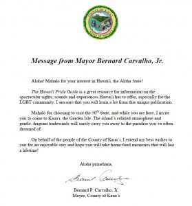 Letter from Kauai Mayor Welcoming Hawaii Pride Guide
